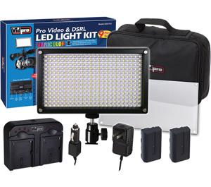 Vidpro 9pc VariColor Photo/Video LED Light Kit with 2 Batteries  Charger  Diffuser & Case