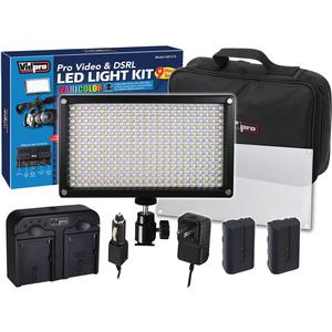 Vidpro 9pc VariColor Photo-Video LED Light Kit with 2 Batteries Charger Diffuser and Case