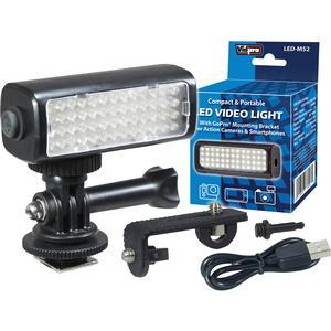 Vidpro LED-M52 LED Video Light for Action Cameras and Smartphones with Mount for GoPro