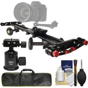 Vidpro SK-24 Professional 24 inch Track Slider and Skater Dolly with Case + Ball Head + Cleaning Kit