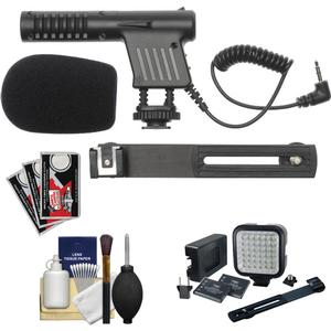 Vidpro Mini Condenser Microphone for DSLRs Camcorders and Video Cameras with Video Light and Bracket and Canon Cleaning and Accessory Kit
