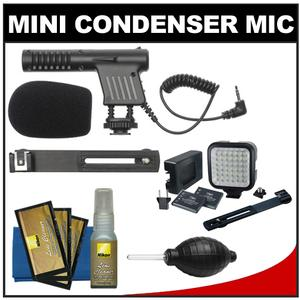 Vidpro Mini Condenser Microphone for DSLRs Camcorders and Video Cameras with Video Light and Bracket + Nikon Cleaning and Accessory Kit