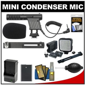 Vidpro Mini Condenser Microphone for DSLRs Camcorders and Video Cameras with EN-EL14 Battery and Charger and Video Light and Bracket and Nikon Accessory Kit