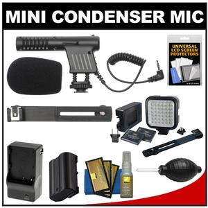 Vidpro Mini Condenser Microphone for DSLRs Camcorders and Video Cameras with EN-EL15 Battery and Charger and Video Light and Bracket and Nikon Accessory Kit