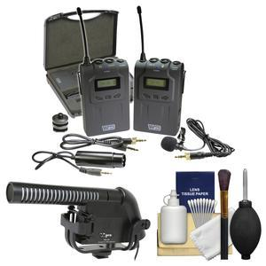Vidpro XM-W4 Professional UHF Wireless Microphone System with Lavalier and Case with Microphone + Kit