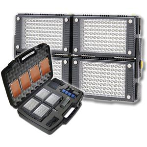 Vidpro 4-Panel Z-96K Pro Photo-Video LED Light Kit with Battery Charger Diffusers and Case