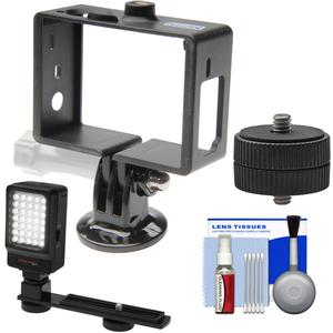 Vidpro FR-GP Frame Mount for GoPro HERO 3-3 and -4 Action Camera with LED Video Light and Cleaning Kit