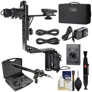 Vidpro MH-430 Professional Motorized Pan and Tilt Gimbal Head with 2 Geared Motors Joystick Remote Control Cables and Case + Broadcast Microphone + Kit