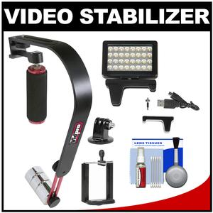 Vidpro SB-8 Video Stabilizer for Smartphones with LED Video Light and Kit for Apple iPhone 4-4s-5-5s