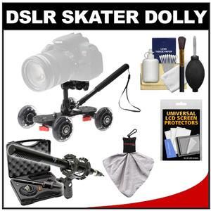 Vidpro SK-22 Professional Skater Dolly for Digital SLR Cameras and Video Camcorders with Vidpro 13-Piece Microphone Set and Accessory Kit