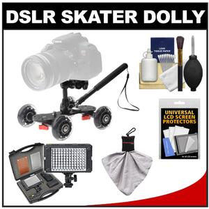 Vidpro SK-22 Professional Skater Dolly for Digital SLR Cameras and Video Camcorders with Vidpro 9-Piece LED Light Set and Accessory Kit