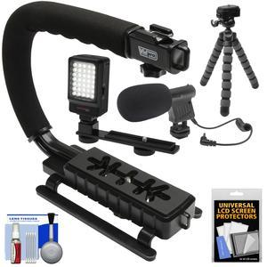 Vidpro VB-12 Stabilizer Hand Grip for DSLR Cameras Video Camcorders and Action Cameras with LED Video Light and Microphone and Flex Tripod and Kit