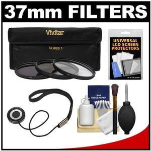 Vivitar 3-Piece Multi-Coated HD Filter Set (37mm UV/CPL/ND8) with CapKeeper + Accessory Kit
