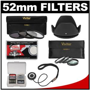 Vivitar 3-Piece Multi-Coated HD Filter Set (52mm UV/CPL/ND8) & 4 Macro Filter Set + Lens Hood + Accessory Kit