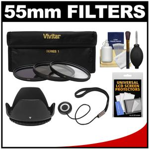 Vivitar 3-Piece Multi-Coated HD Filter Set (55mm UV/CPL/ND8) with Hood + Accessory Kit