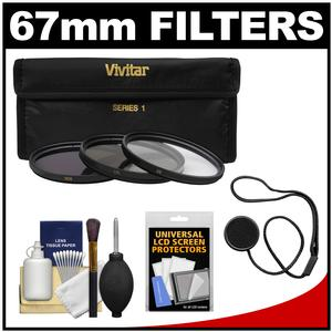 Vivitar 3-Piece Multi-Coated HD Filter Set (67mm UV/CPL/ND8) with Camera/Lens Accessory Kit
