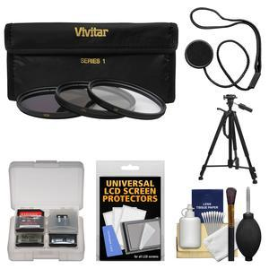 Vivitar 3-Piece Multi-Coated HD Filter Set (67mm UV/CPL/ND8) with Tripod + Kit