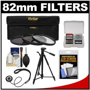 Vivitar 3-Piece Multi-Coated HD Filter Set (82mm UV/CPL/ND8) with Tripod + Accessory Kit