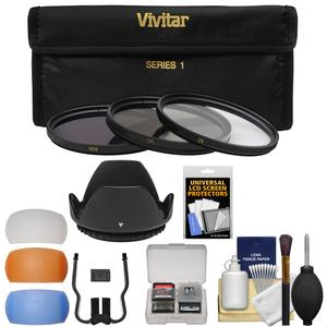Vivitar 3-Piece Multi-Coated HD Filter Set (55mm UV/CPL/ND8) with Lens Hood + Diffusers + Accessory Kit