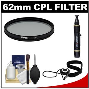 Vivitar 62mm Circular Polarizer Glass Filter with LensPen and CapKeeper and Lens Cleaning Kit