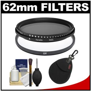 Vivitar 62mm - UV + Neutral Density - Glass Filter with Filter Case + Lens Cleaning Kit
