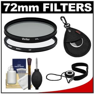 Vivitar 72mm - UV + Circular Polarizer - Glass Filter with Filter Case + CapKeeper + Lens Cleaning Kit