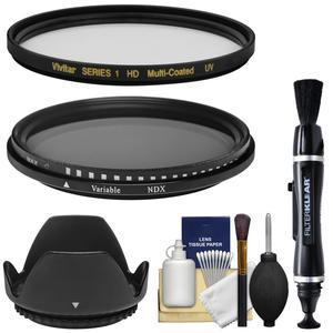 Vivitar Series 1 62mm - MC UV + Variable Neutral Density - Glass Filters with Lens Hood + Lens Brush Pen + Kit