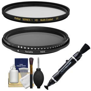 Vivitar Series 1 82mm - MC UV + Variable Neutral Density - Glass Filters with Lens Brush Pen + Kit