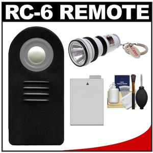 Vivitar RC-6 Wireless Shutter Release Remote Control for Canon Digital SLR Cameras for Rebel T2i  T3i  T4i with LP-E8 Battery + Flashlight Kit