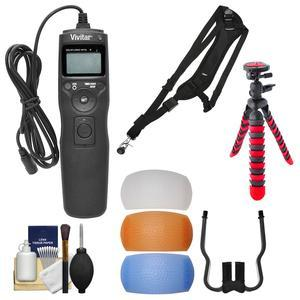 Vivitar Universal LCD Digital Timer Shutter Release Remote Control with Strap + 3 Flash Diffusers + Flex Tripod + Kit for Canon Nikon Sony and Olympus
