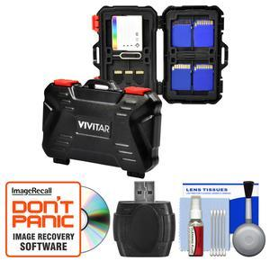 Vivitar Memory Card Hard Protector Case - Holds 4 CF 8 SD and 12 MicroSD with Card Reader + Cleaning Kit
