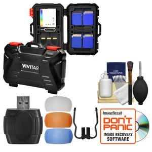 Vivitar Memory Card Hard Protector Case - Holds 4 CF 8 SD and 12 MicroSD with Card Reader + Flash Diffusers + Cleaning Kit