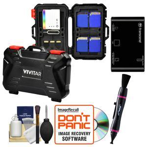 Vivitar Memory Card Hard Protector Case - Holds 4 CF 8 SD and 12 MicroSD with Multi-Card Reader + Cleaning Kit