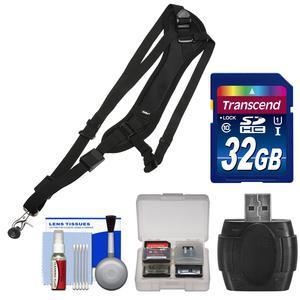 Vivitar SLING1 Padded Sling Camera Strap with 32GB Card + Reader + Kit