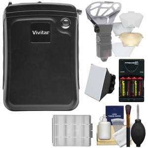 Vivitar External Battery Power Pack for Speedlight Flashes with Batteries and Charger and Flash Diffusers and Kit