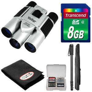 Vivitar 10x25 Binoculars with Built-in Digital Camera with 8GB Card + Monopod + FogKlear Cleaning Cloth + Kit