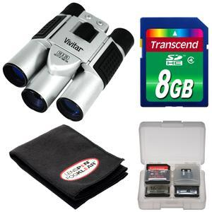 Vivitar 10x25 Binoculars with Built-in Digital Camera with 8GB Card + FogKlear Cleaning Cloth + Kit