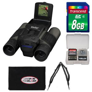 Vivitar 12x25 Binoculars with Built-in Digital Camera with 8GB Card + Harness + Accessory Kit