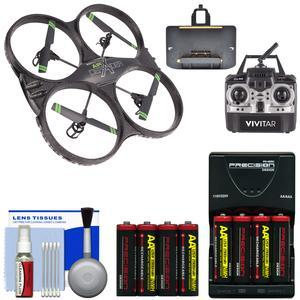 Vivitar DRC-333 Air Defender X Wi-Fi Streaming HD Video Camera Drone with + 8 Batteries and Charger + Kit