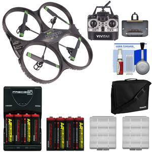 Vivitar DRC-333 Air Defender X Wi-Fi Streaming HD Video Camera Drone with 8 Batteries and Charger + Case + Kit