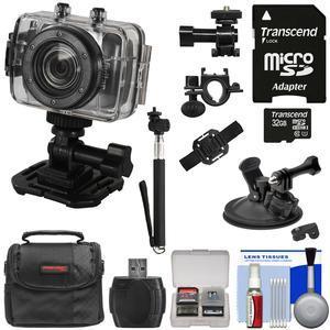 Vivitar DVR785HD Waterproof Action Video Camera Camcorder (Black) with Helmet\/Bike Mounts with 32GB Card + Case + Selfie Stick + Car Mount + Kit