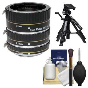 Vivitar Macro Extension Tube Set - for Canon EOS Cameras - with Tripod + Kit