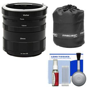 Vivitar Macro Manual Extension Tube Set - for Canon EOS Cameras - with Lens Pouch and Cleaning Kit