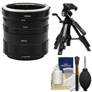 Vivitar Macro Manual Extension Tube Set - for Canon EOS Cameras - with Low Angle Tripod and Cleaning Kit