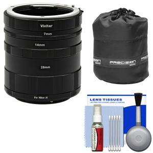 Vivitar Macro Manual Extension Tube Set - for Nikon Cameras - with Lens Pouch and Cleaning Kit