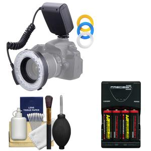 Vivitar Universal Macro 48 LED Ring Light and Flash with 4 Colored Diffusers with 4 Batteries and Charger + Cleaning Kit