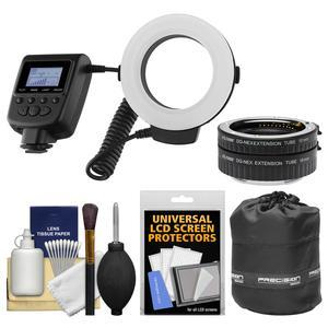 Vivitar Universal Macro 48 LED Ring Light and Flash with 4 Colored Diffusers with Macro Extension Tube Set + Pouch Kit for Sony Alpha E-Mount Cameras