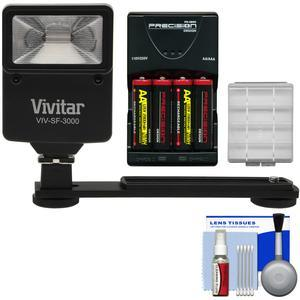 Vivitar SF-3000 Digital Slave Flash and Bracket with AA Batteries and Charger + Kit