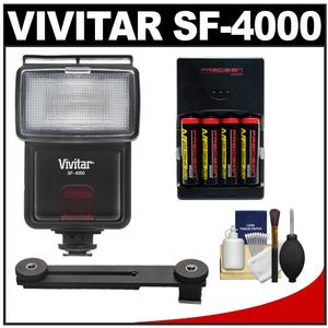 Vivitar SF-4000 Auto Bounce Zoom Slave Flash with Bracket + AA Batteries and Charger + Cleaning Kit for Sony Alpha A3000 A5000 A6000 NEX-5T 6 7