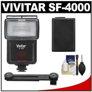 Vivitar SF-4000 Auto Bounce Zoom Slave Flash with Bracket and NP-FW50 Battery and Cleaning Kit for Sony Alpha A3000 A5000 A6000 NEX-5T 6 7 Camera